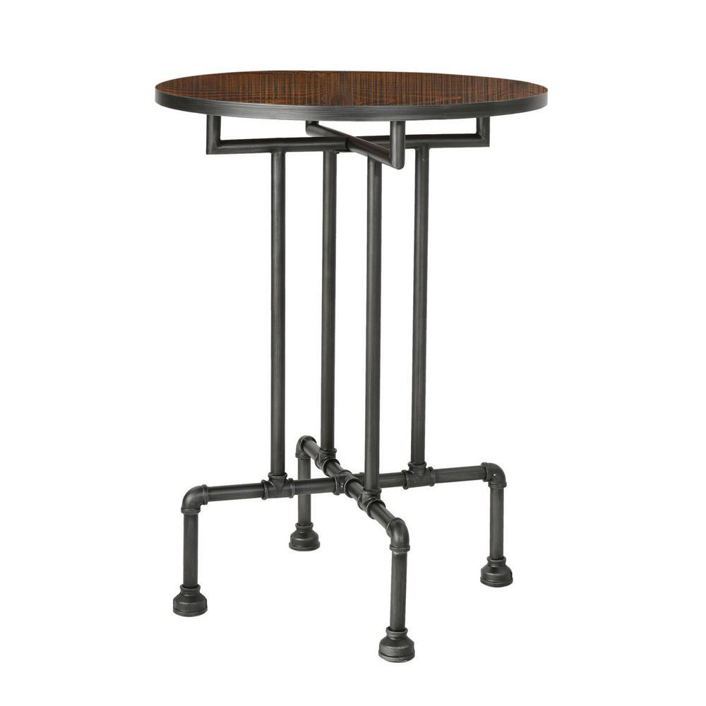 Dark Brown Round Wood and Metal Bar Table