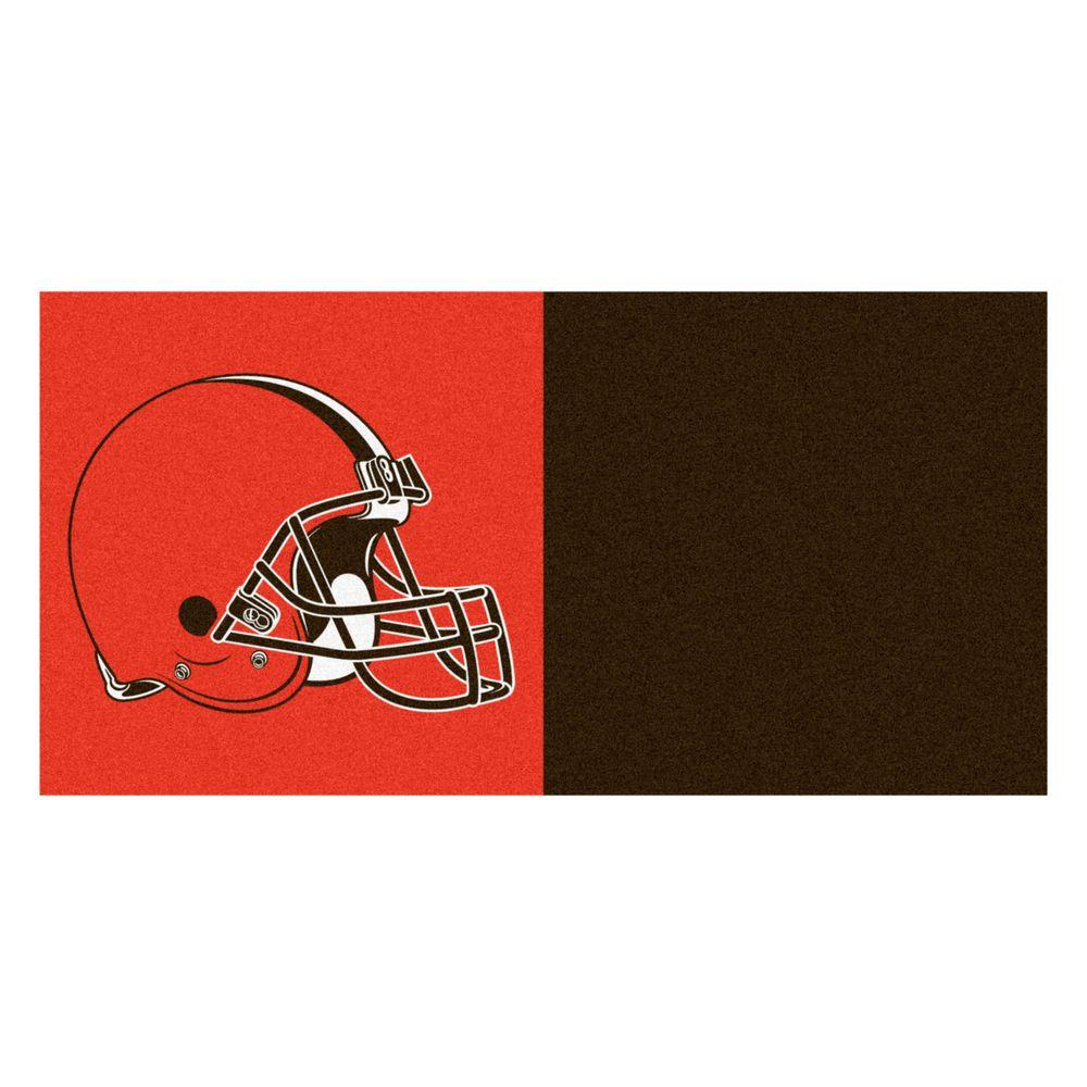 FANMATS NFL - Cleveland Browns Brown and Orange Nylon 18 in. x 18 in. Carpet Tile (20 Tiles/Case)