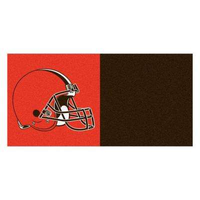 NFL - Cleveland Browns Brown and Orange Nylon 18 in. x 18 in. Carpet Tile (20 Tiles/Case)