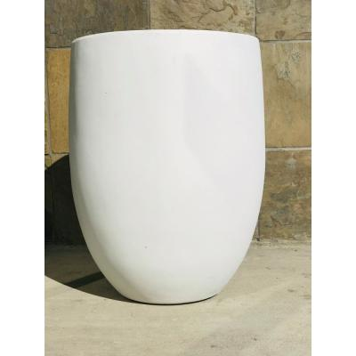 21.7 in. Tall Pure White Lightweight Concrete Outdoor Round Bowl Planter