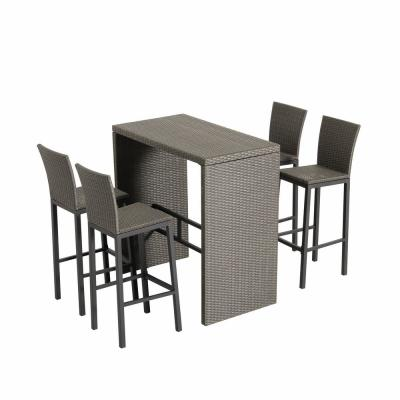5-Piece Wicker Outdoor Serving Bar Set