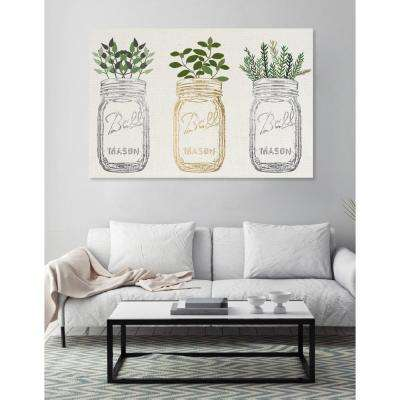 "16 in. x 24 in. W ""Mason Jars and Plants Metallic"" Printed Framed Canvas Wall Art"