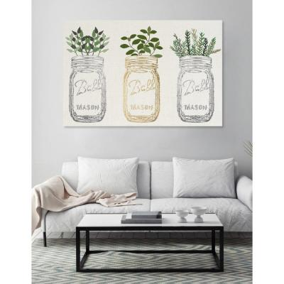"30 in. x 45 in. W ""Mason Jars and Plants Metallic"" Printed Framed Canvas Wall Art"