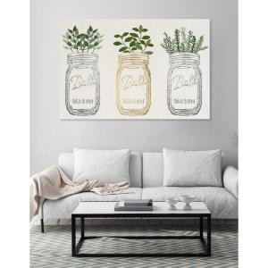 The Oliver Gal Artist Co. 20 inch x 30 inch W 'Mason Jars and Plants Metallic' by The Oliver Gal Artist Co. Printed Framed Canvas Wall Art by The Oliver Gal Artist Co.