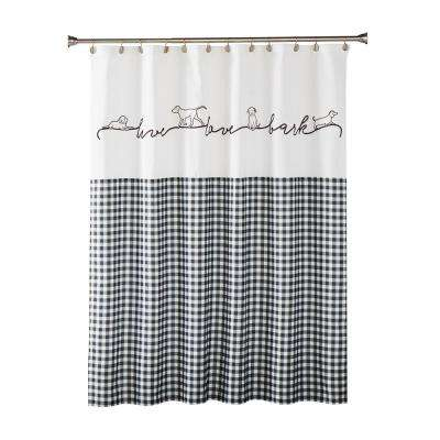 Farmhouse Dogs 72 in. Black Shower Curtain