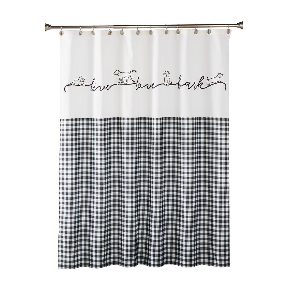 Farmhouse Dogs 72 In Black Shower Curtain U2177000200001 The