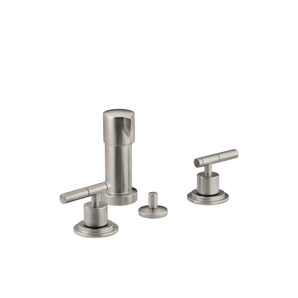 KOHLER Taboret 2-Handle Bidet Faucet in Vibrant Brushed Nickel with Vertical Spray