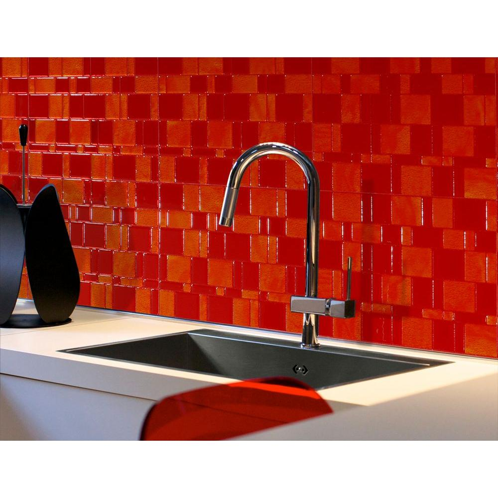 Smart Tiles Tango Ruby 11.55 in. x 9.64 in. Peel and Stick Mosaic Decorative Tile Backsplash in Orange and Red (6-Pack)