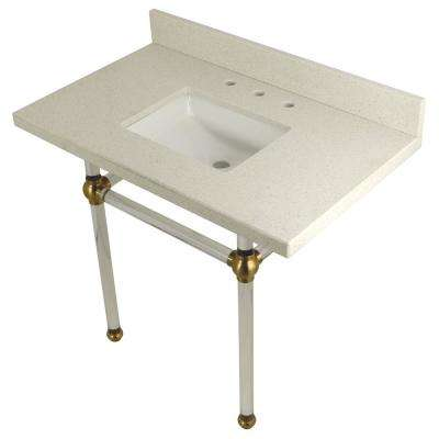 Square-Sink Washstand 36 in. Console Table in White Quartz with Acrylic Legs in Satin Brass