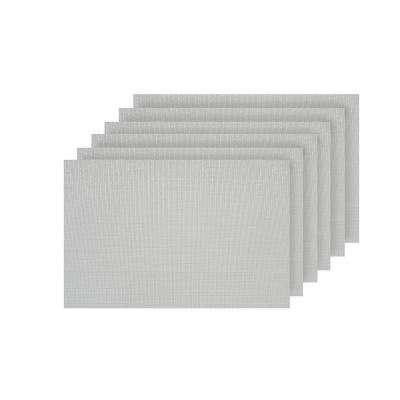 Natural Shimmer White Woven Textilene Reversible Rectangle Placemats (Set of 6)
