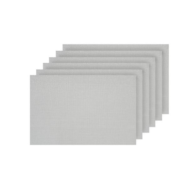 Dainty Home Natural Shimmer White Woven Textilene Reversible Rectangle Placemats