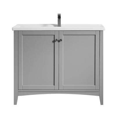 Asti 40 in. W x 18 in. D x 33 in. H Bath Vanity in Grey with Ceramic Vanity Top in White with White Basin