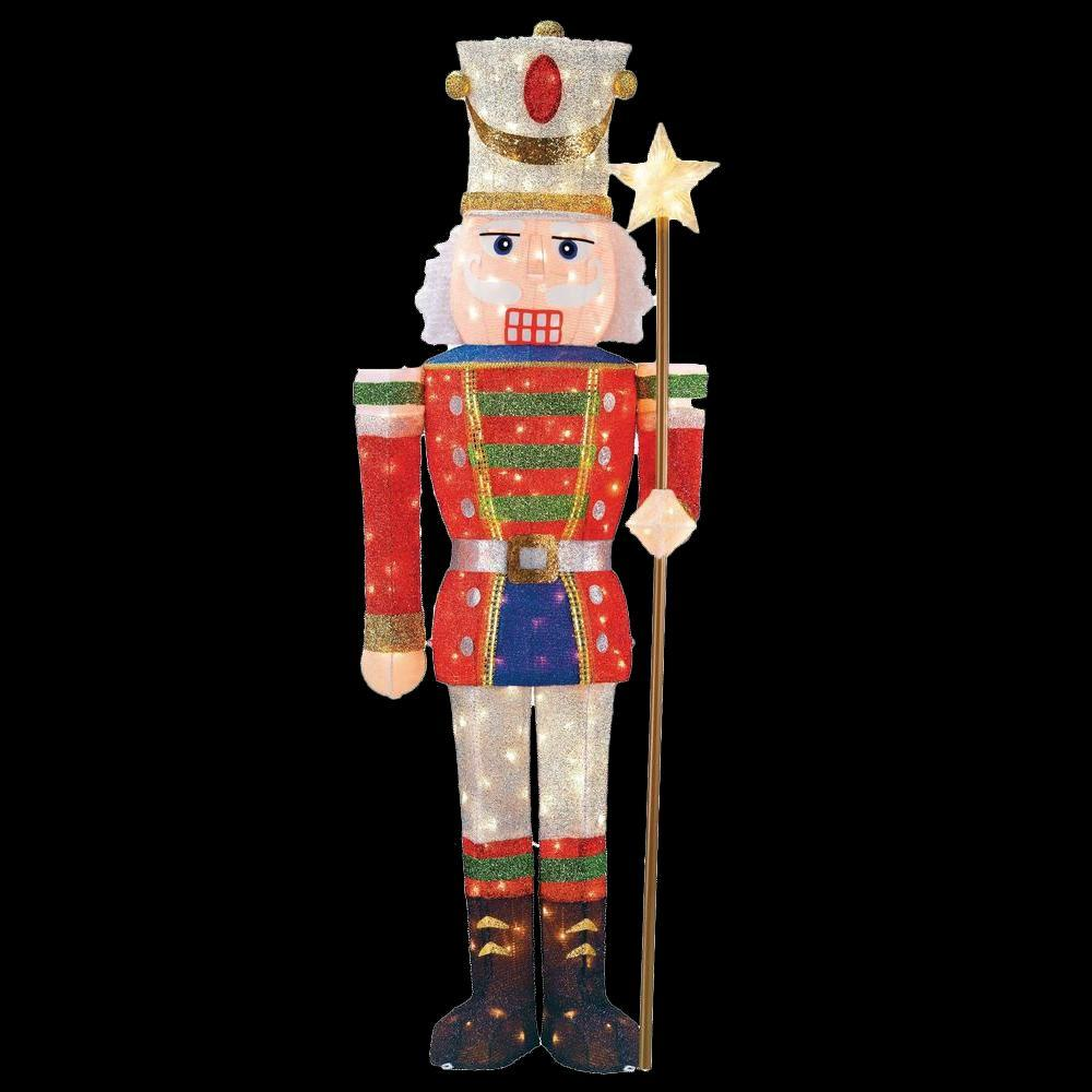 5 ft pre lit tinsel nutcracker soldier - Home Depot Christmas Decorations
