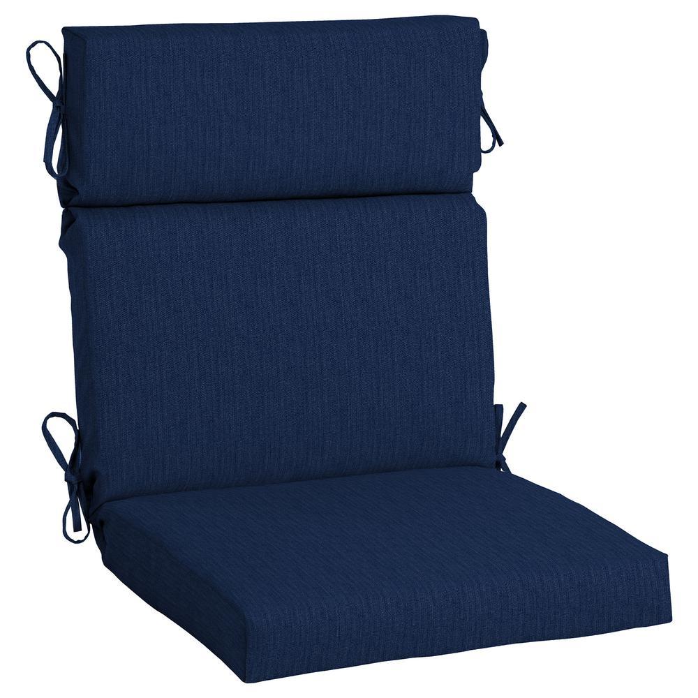 21.5 x 44 Sunbrella Spectrum Indigo High Back Outdoor Dining Chair Cushion