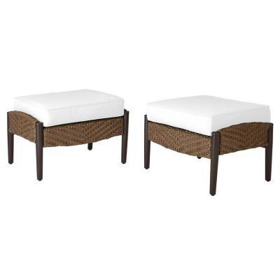 Bolingbrook Wicker Outdoor Ottoman with Cushions Included, Choose Your Own Color (2-Pack)