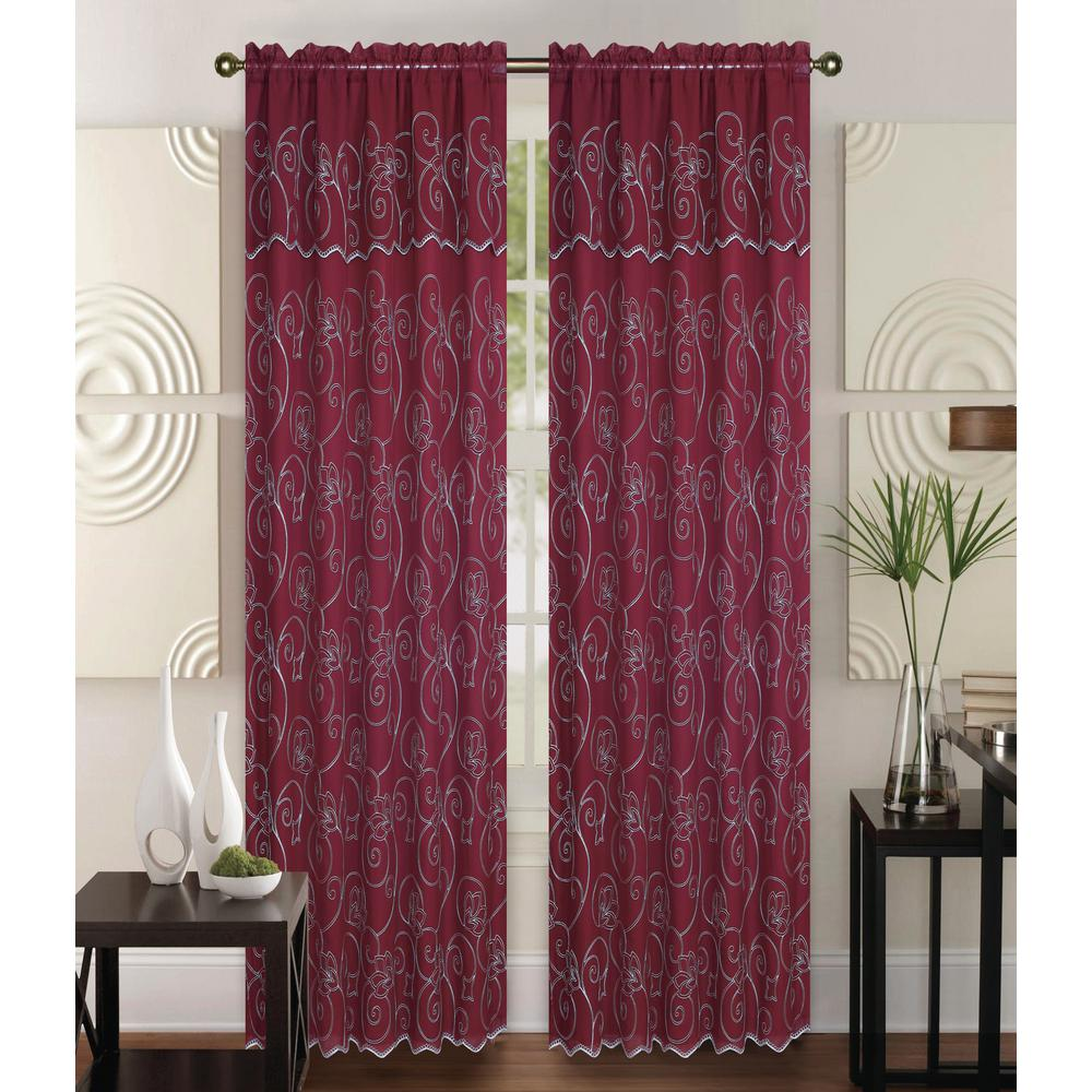 Kashi Home Selma 55 In X 84 In Curtain Panel In Red/Cream