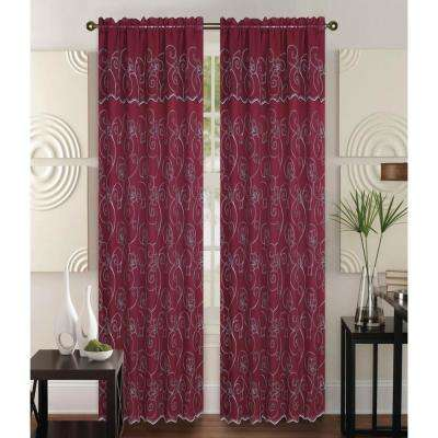 Selma 55 in x 84 in Curtain Panel in Red/Cream