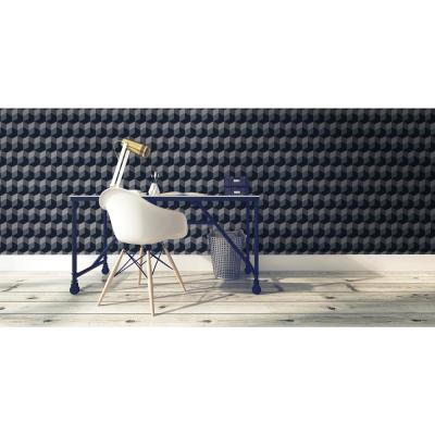 Debut Collection Stacks in Silver/Black Removable and Repositionable Wallpaper