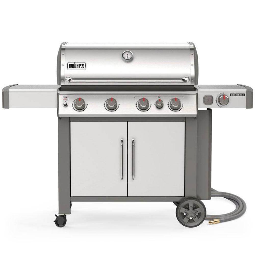 Weber Genesis II S-435 4-Burner Natural Gas Grill in Stainless Steel with Built-In Thermometer and Side Burner