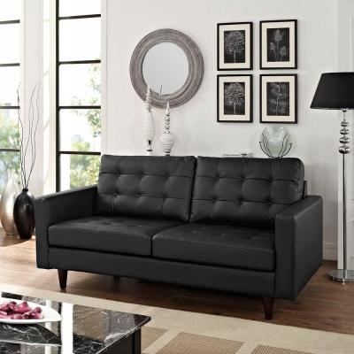 Empress Black Bonded Leather Loveseat