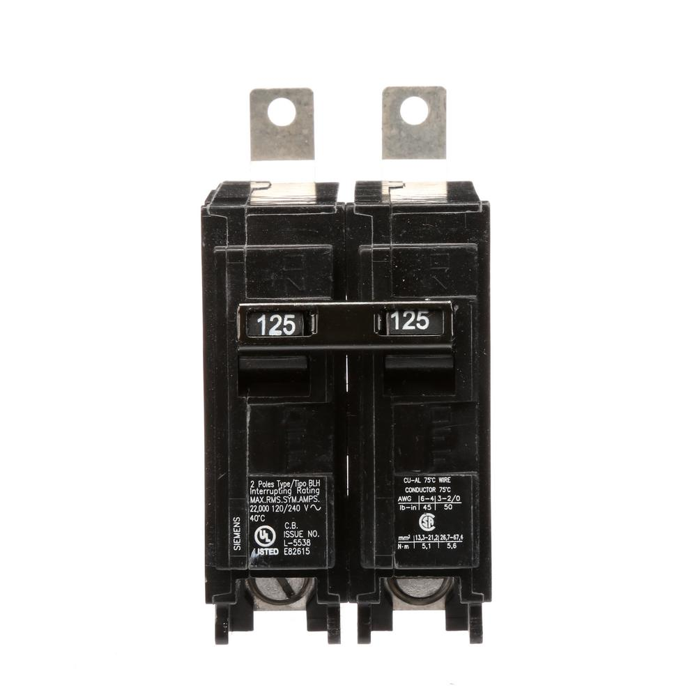 siemens 125 amp 2 pole type blh 22 ka circuit breaker b2125h the home depot. Black Bedroom Furniture Sets. Home Design Ideas