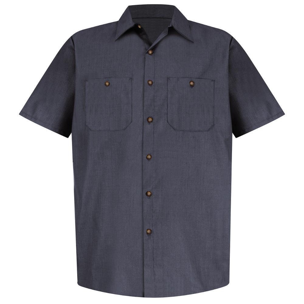 Men's Size L Blue/Charcoal Microcheck Geometric Micro-Check Work Shirt