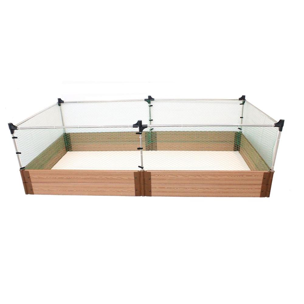 Frame It All Two Inch Series 4 ft. x 8 ft. x 11 in. Composite Raised Garden Bed Kit with Animal Barrier