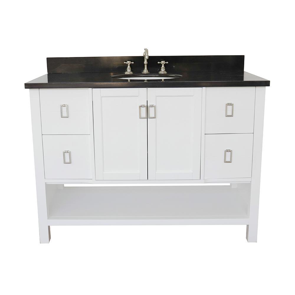 Monterey 49 in. W x 22 in. D Bath Vanity in White with Granite Vanity Top in Black with White Oval Basin