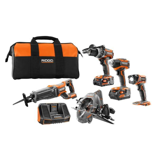 18-Volt Lithium-Ion Cordless Brushless 5-Tool Combo Kit with (1) 2.0 Ah and (1) 4.0 Ah Battery, 18-Volt Charger, and Bag