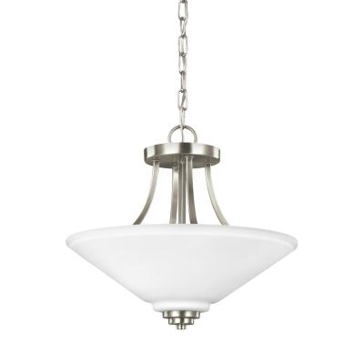 Parkfield 2-Light Brushed Nickel Semi-Flushmount Convertible Pendant with LED Bulbs