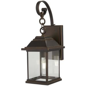 Mariner's Pointe Collection 1-Light Oil Rubbed Bronze with Gold Highlights Outdoor Wall Lantern Sconce