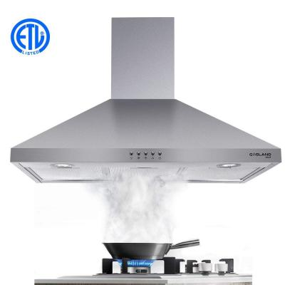 30 in. Wall Mount Range Hood in Stainless Steel with Aluminum Filters LED Lights, Push Button Control