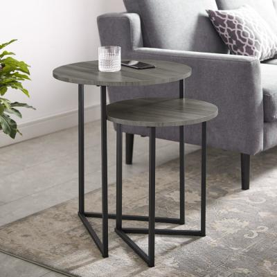 Slate Grey/Black 2-Piece Round Nesting End Tables