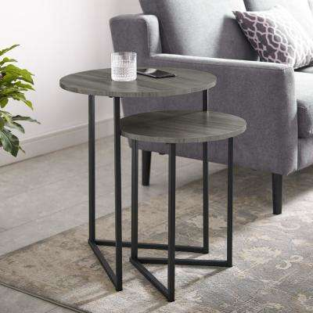 Slate Grey/Black 2-Piece Round Nesting End Tables