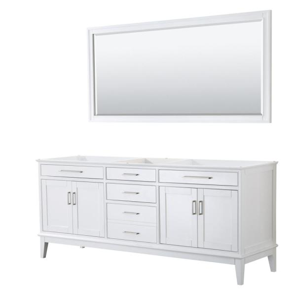 Margate 78.5 in. W x 21.5 in. D Bath Vanity Cabinet Only with 70 in. Mirror in White