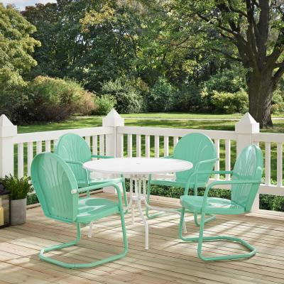 Griffith Aqua 5-Piece Metal Round Outdoor Dining Set