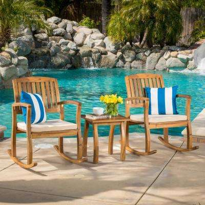Selma Teak 3-Piece Wood Patio Conversation Set with White Cushions
