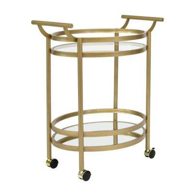 Palazzo 2-Tier Oval 27 in. W x 17.5 in. D Metal and Glass Wheeled Bar / Serving Cart in Gold / Clear Glass and Mirror