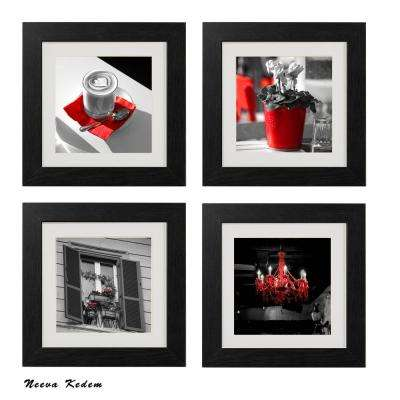 "Four 10 in. x 10 in. ""Red Rome"" by Neeva Kedem Framed Printed Wall Art"