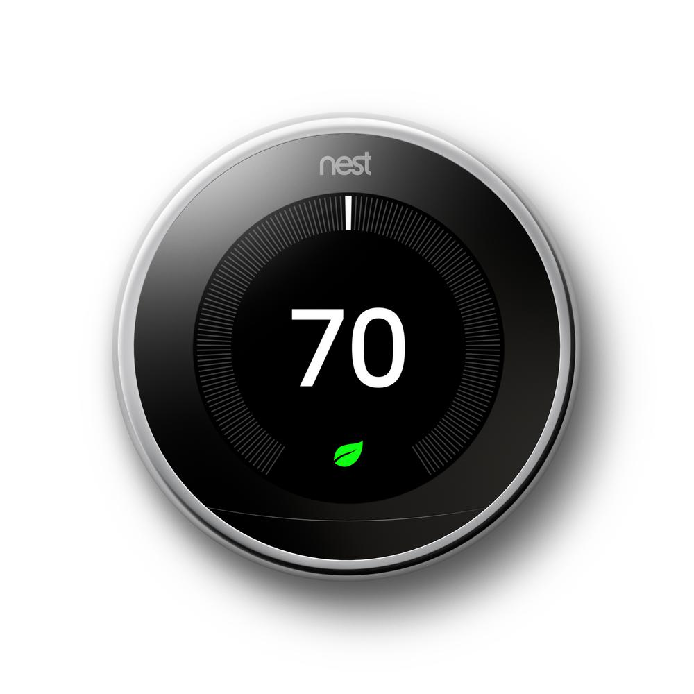 Nest Smart Learning Wi-Fi Programmable Thermostat, 3rd Gen, Polished Steel Home