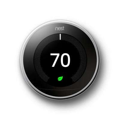 Nest Smart Learning Wi-Fi Programmable Thermostat, 3rd Gen, Polished Steel Home Depot Exclusive
