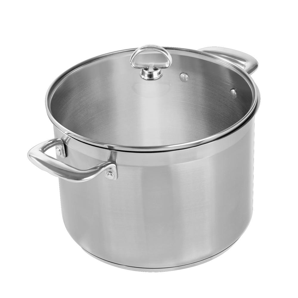 Induction 21 Steel 8 Qt. Stock Pot with Glass Lid in