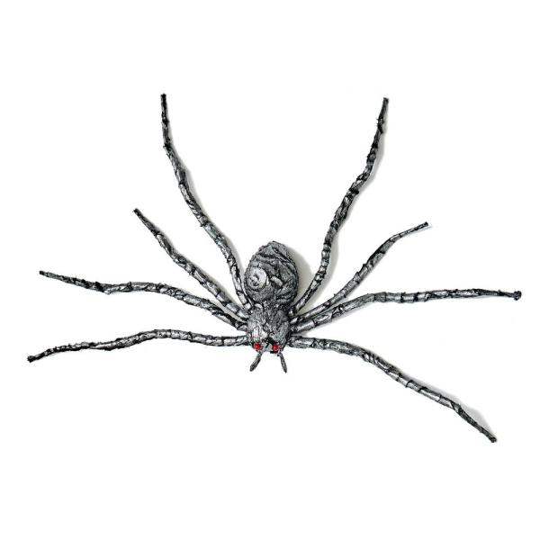 35 in. Silver and Black Spider Halloween Prop (Set of 2)