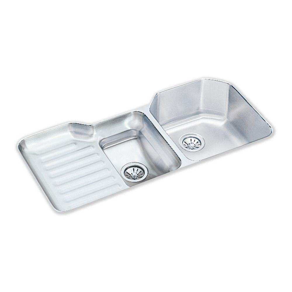 Elkay Lustertone Undermount Stainless Steel 42 In. Double Bowl Kitchen Sink  With Left Drain Board