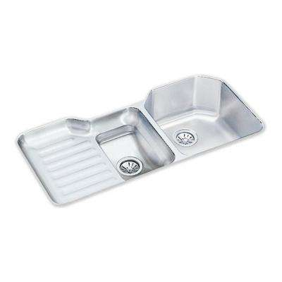Lustertone Undermount Stainless Steel 42 in. Double Bowl Kitchen Sink