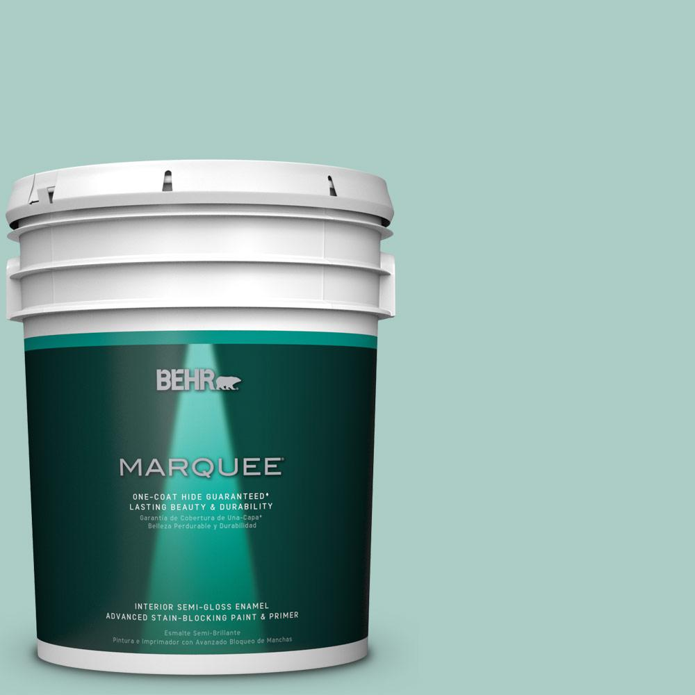 5 gal. #M440-3 Baby Aqua One-Coat Hide Semi-Gloss Enamel Interior Paint