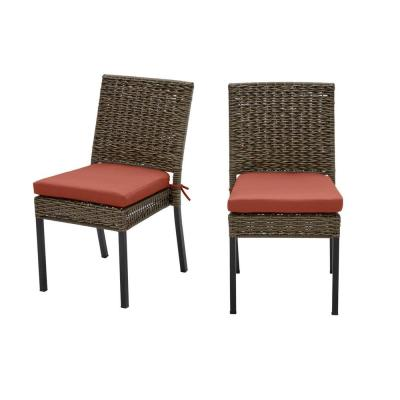 Laguna Point Brown 2-Piece Wicker Outdoor Patio Dining Chair with Sunbrella Henna Red Cushions