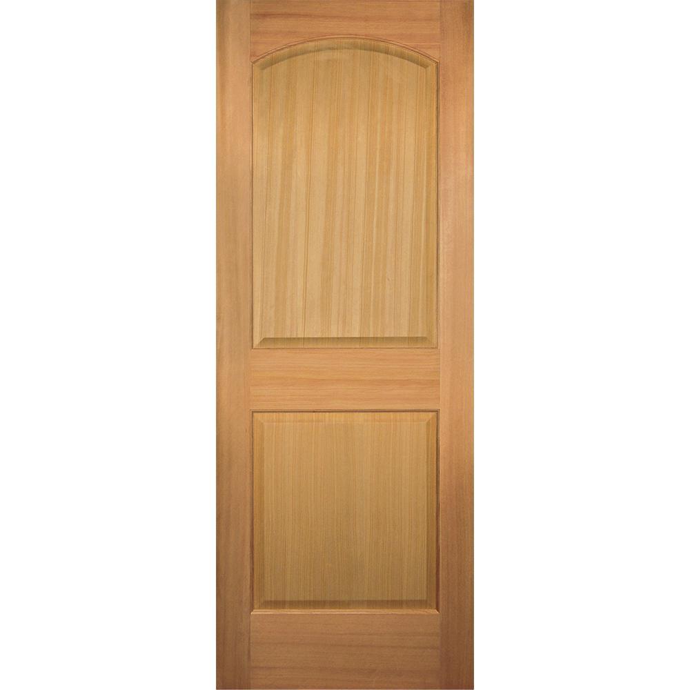 Builder's Choice 32 in. x 80 in. 2-Panel Arch Top Stain Grade Wood Hemlock Interior Door Slab