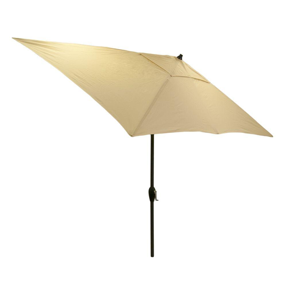 Hampton Bay 10 Ft X 6 Rectangular Aluminum Market Patio Umbrella In Roux