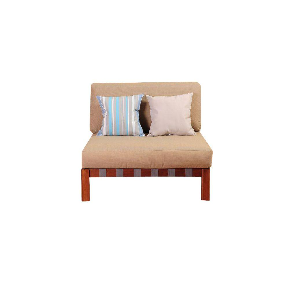 Maya eucalyptus sectional middles patio chair with khaki cushions by jamie durie